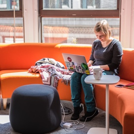 BuzzFeed employee working on an orange couch